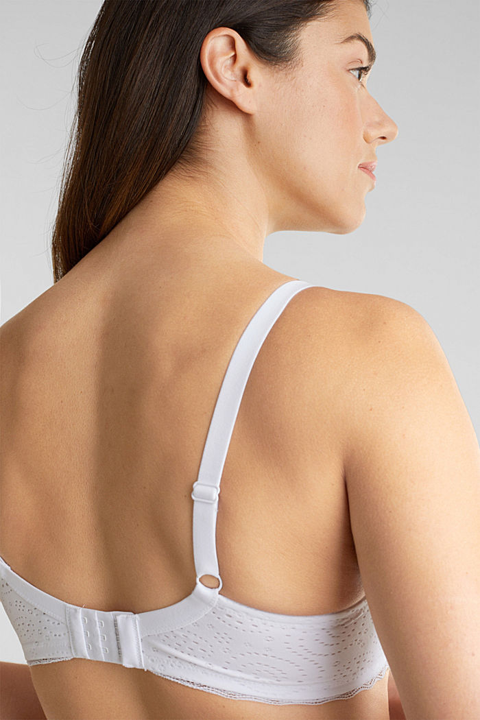 Underwire bra with a burnt-out pattern, WHITE, detail image number 4