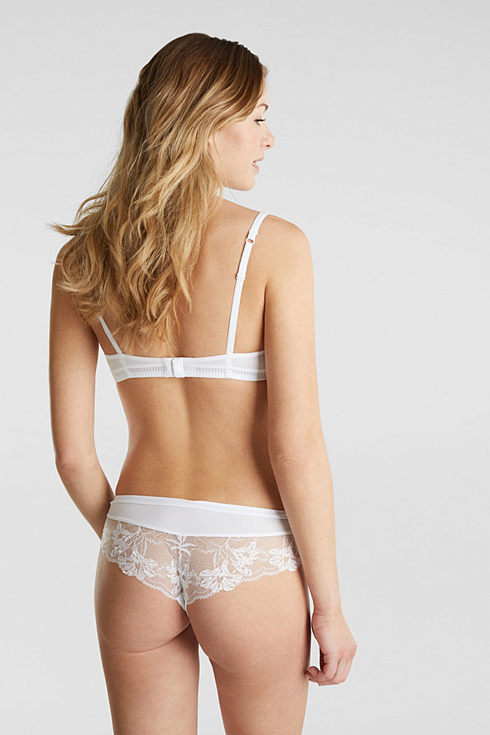 Unpadded underwire bra with lace, WHITE, detail image number 1