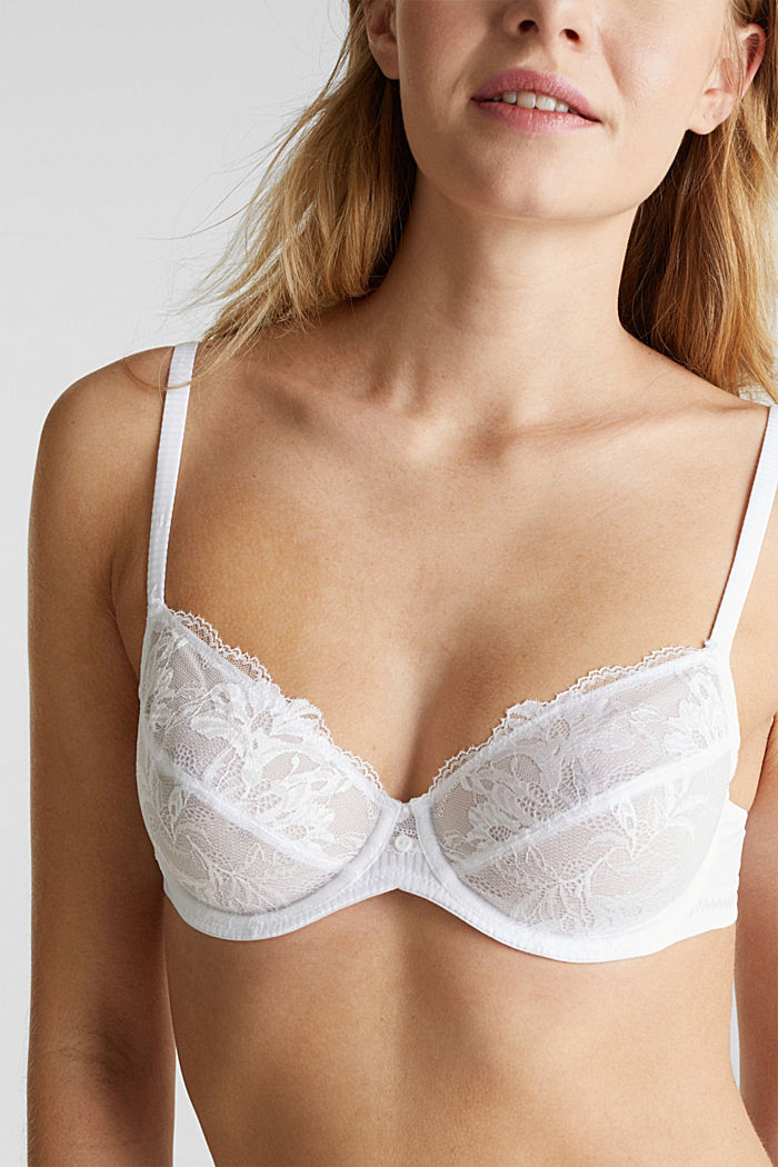 Unpadded underwire bra with lace, WHITE, detail image number 2