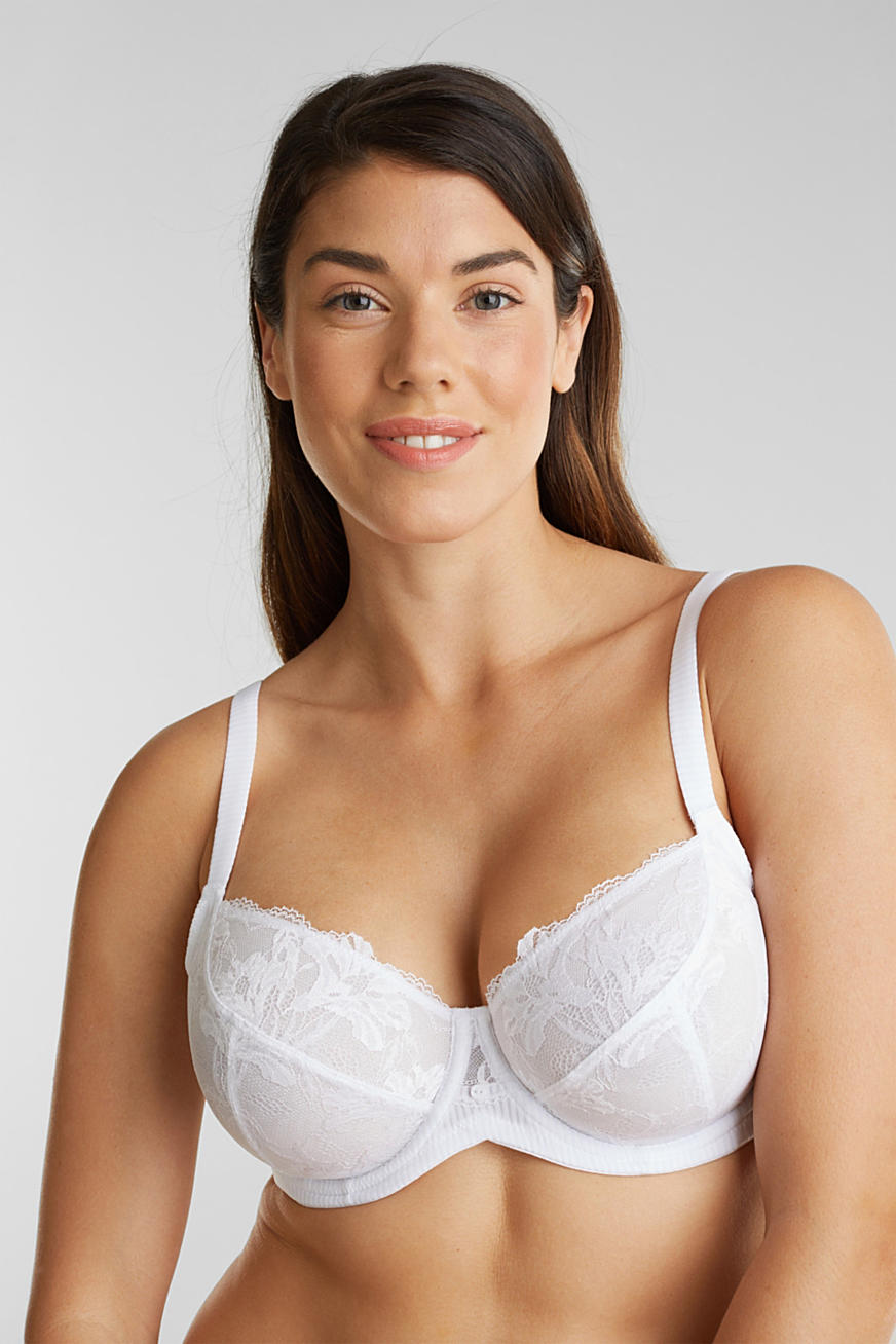 Unpadded underwire bra in leaf-shaped lace