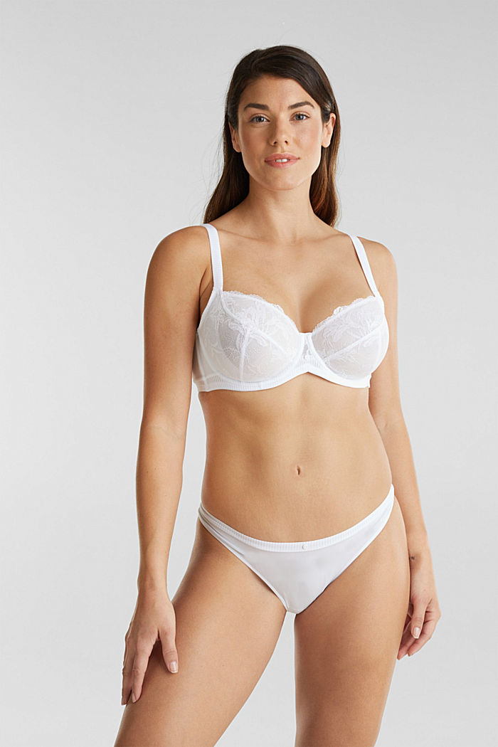 Unpadded underwire bra in leaf-shaped lace, WHITE, detail image number 2