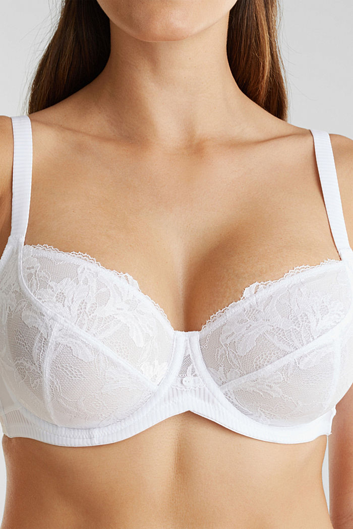 Unpadded underwire bra in leaf-shaped lace, WHITE, detail image number 3