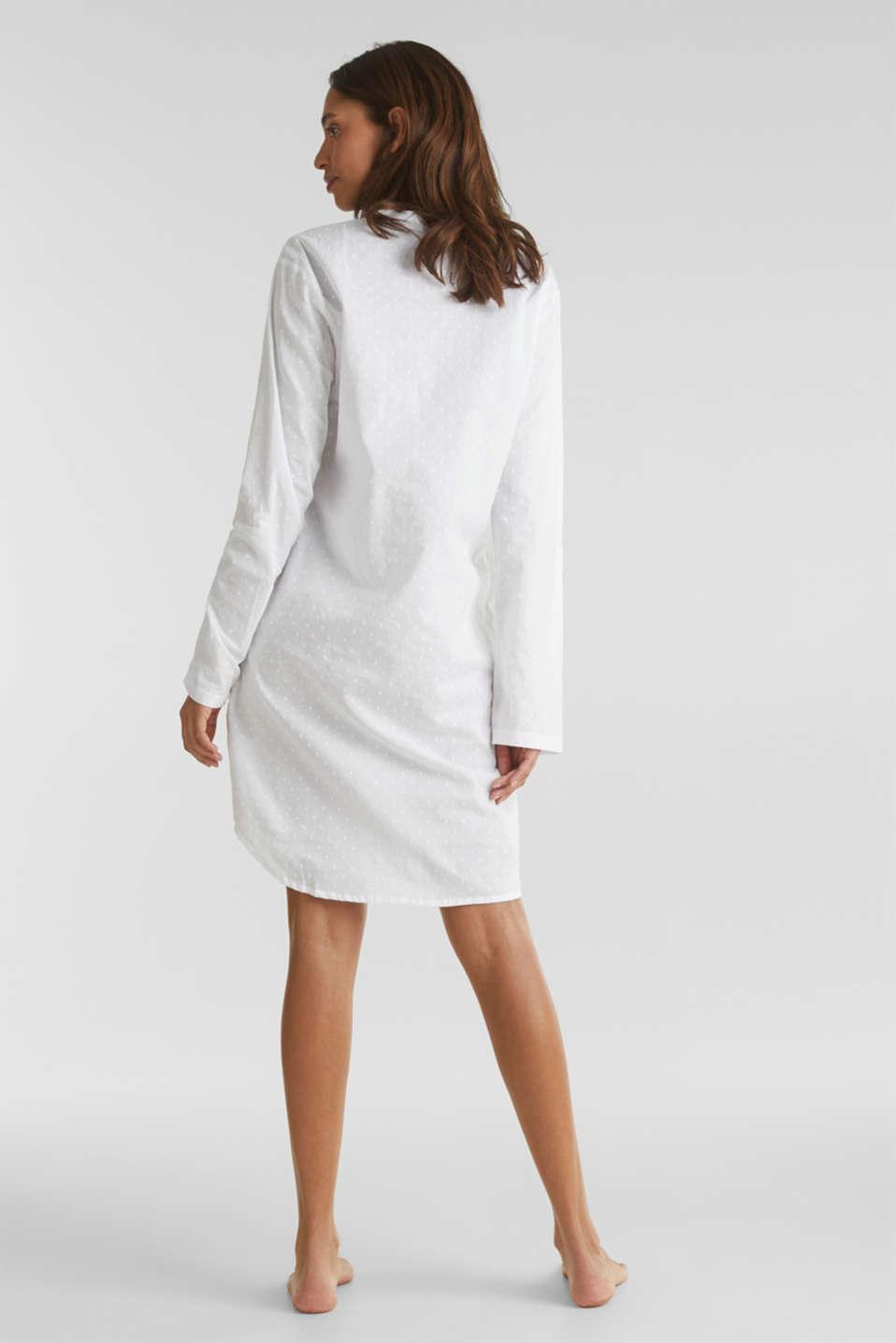 Polka dot nightshirt, 100% cotton, WHITE, detail image number 2
