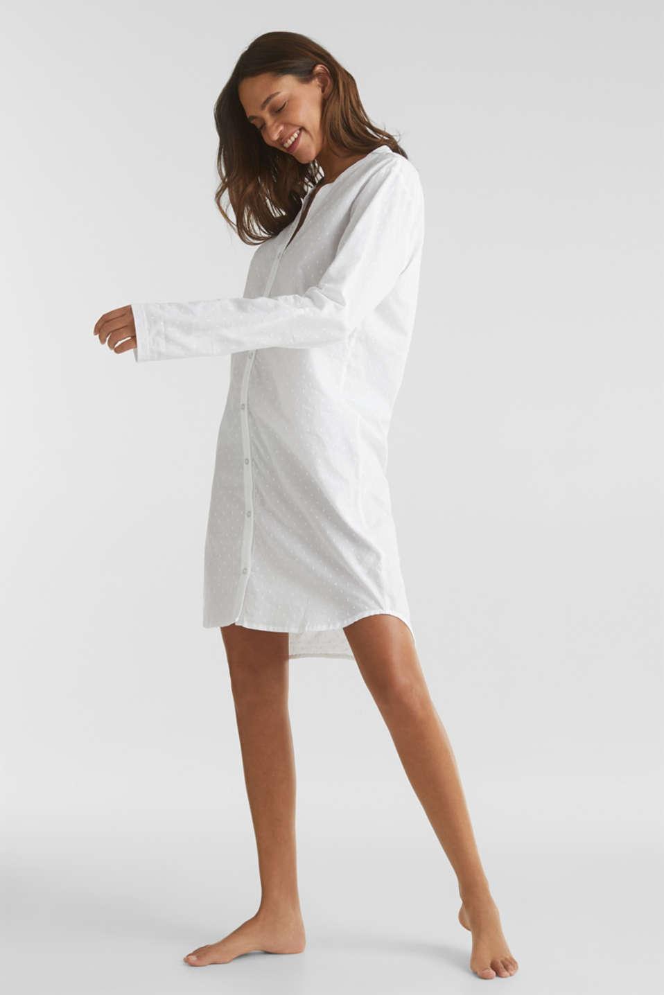 Polka dot nightshirt, 100% cotton, WHITE, detail image number 0