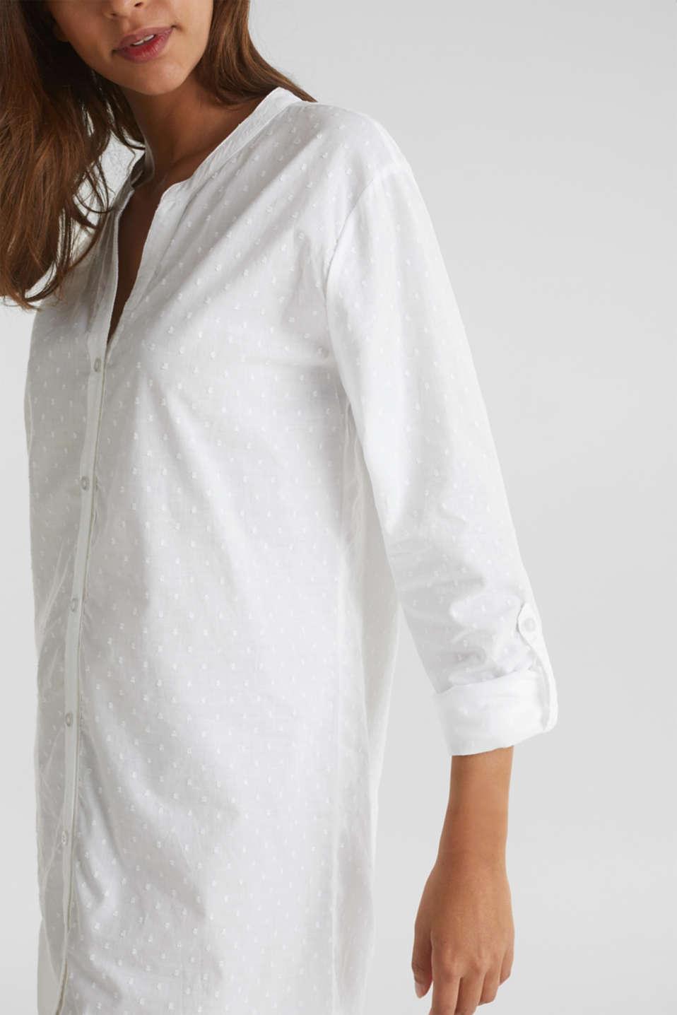 Polka dot nightshirt, 100% cotton, WHITE, detail image number 3