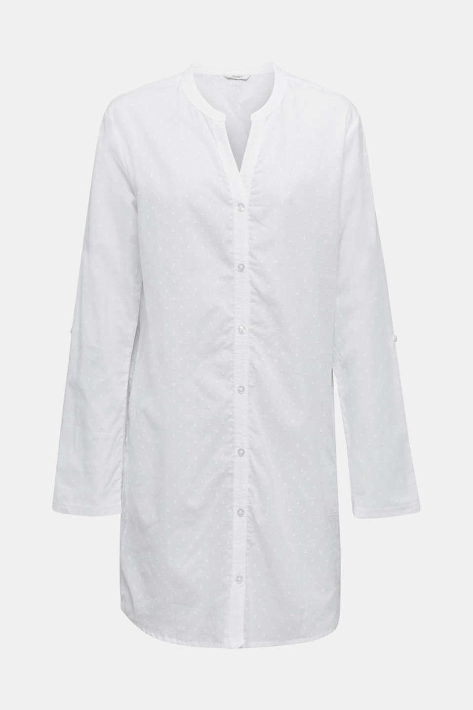 Polka dot nightshirt, 100% cotton, WHITE, detail image number 5