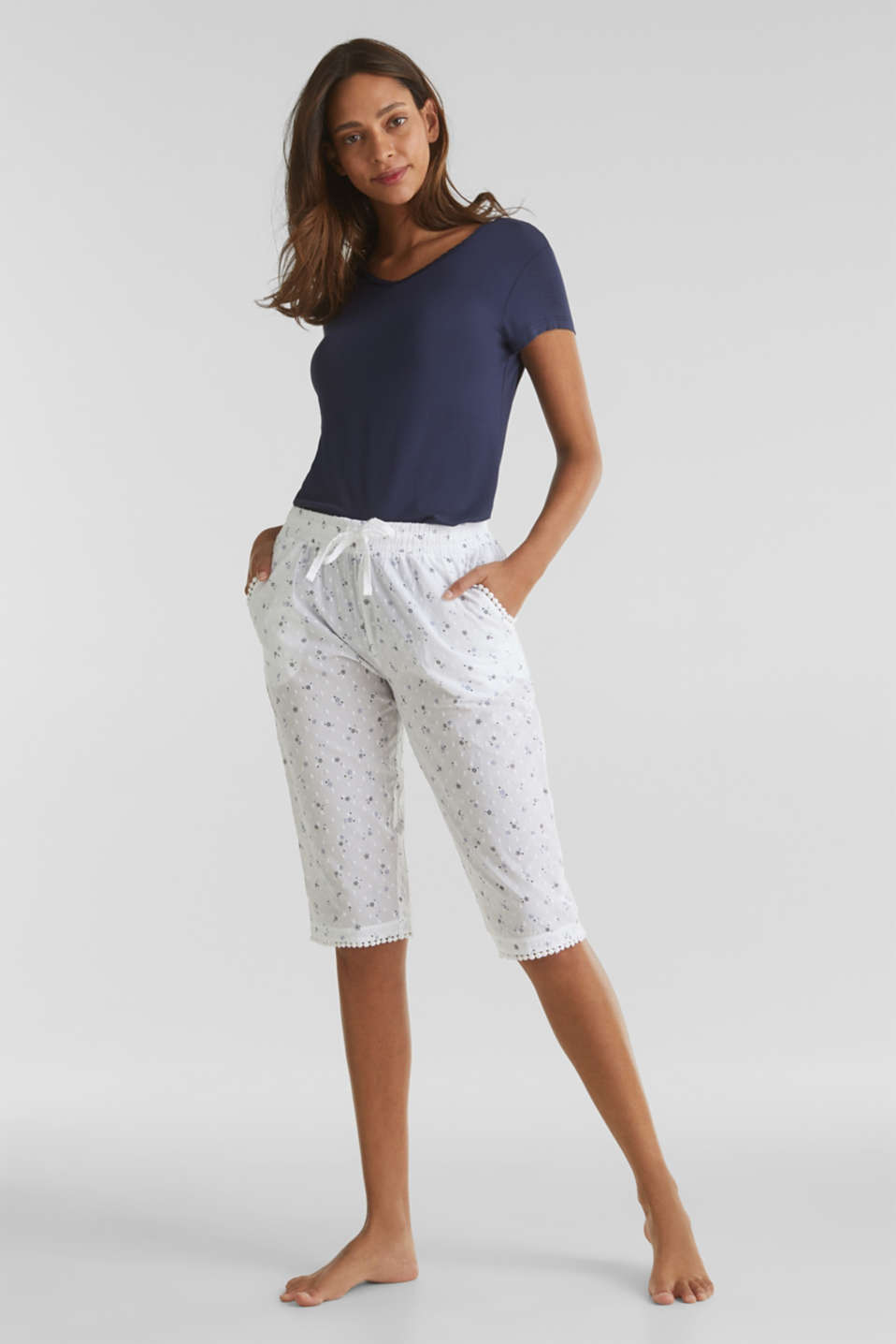 Woven capris with a print, 100% cotton, WHITE, detail image number 1