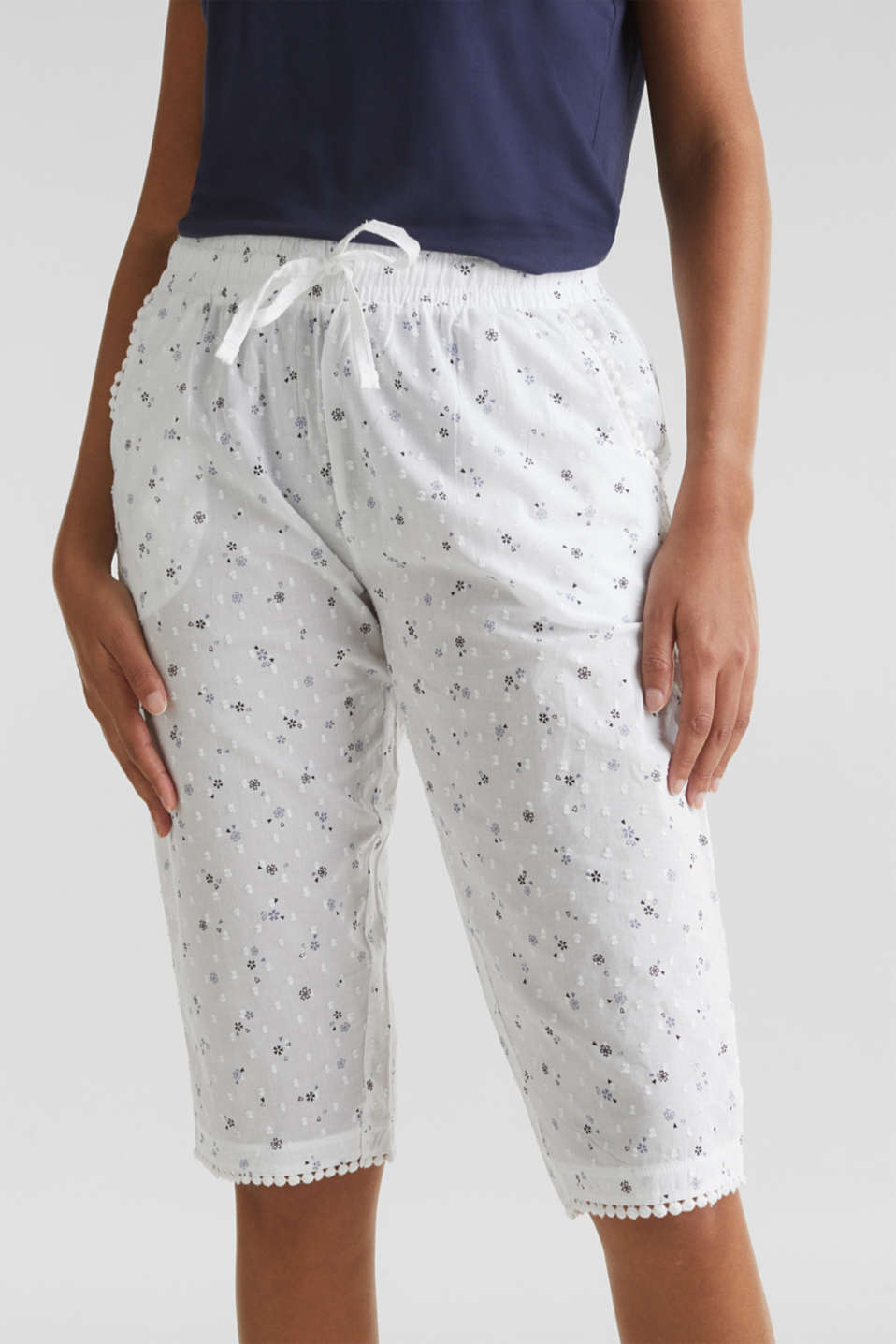 Woven capris with a print, 100% cotton, WHITE, detail image number 2