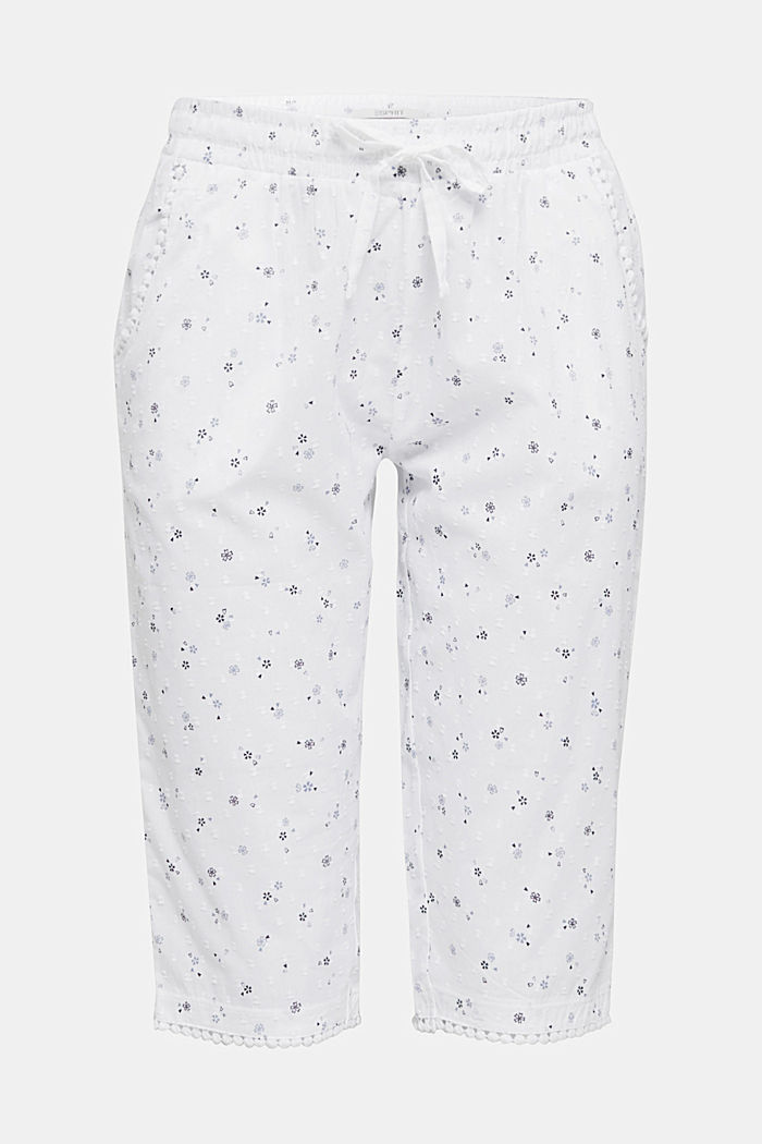 Woven capris with a print, 100% cotton, WHITE, detail image number 6