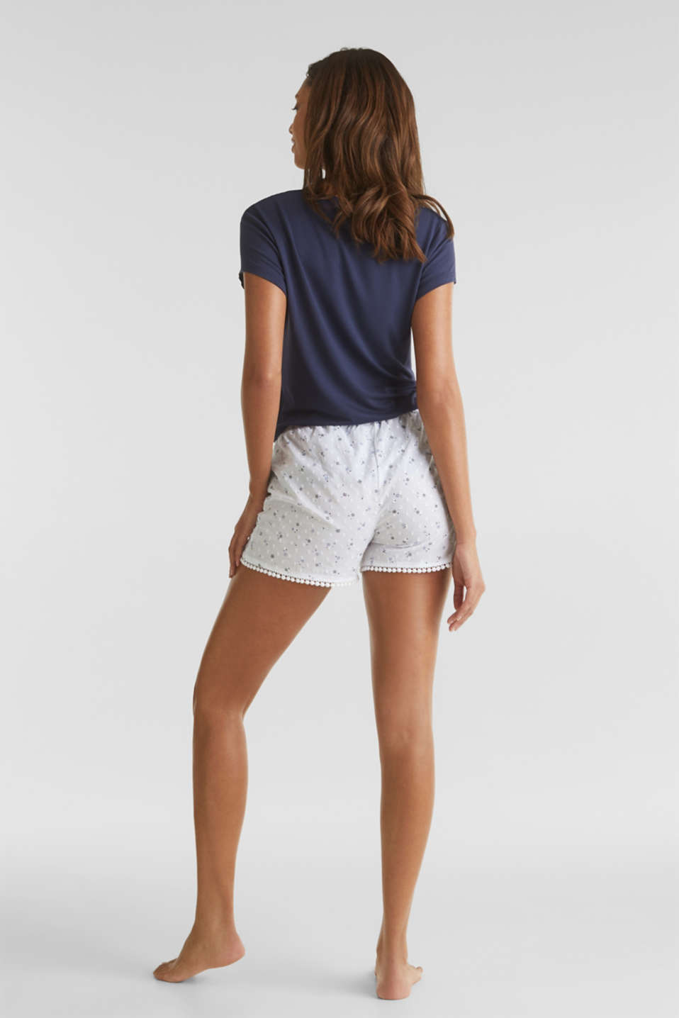 Woven shorts with lace, 100% cotton, WHITE, detail image number 3