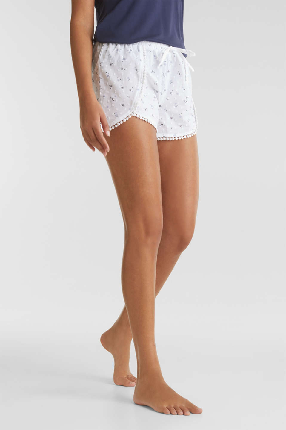 Woven shorts with lace, 100% cotton, WHITE, detail image number 6