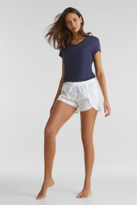 Woven shorts with lace, 100% cotton, WHITE, detail