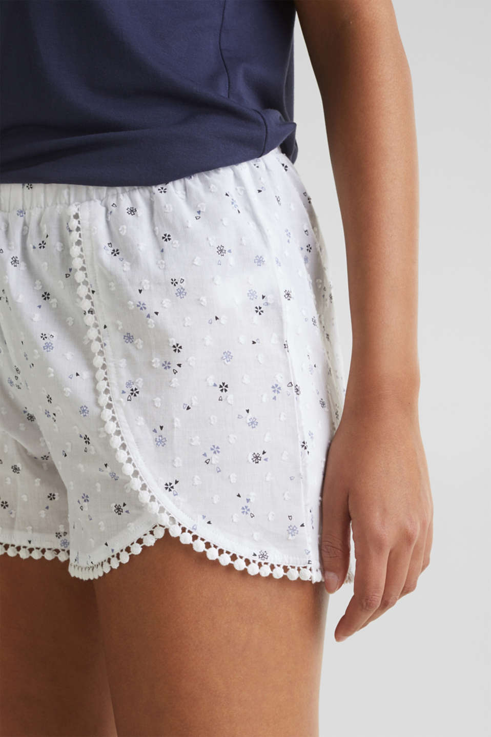 Woven shorts with lace, 100% cotton, WHITE, detail image number 2