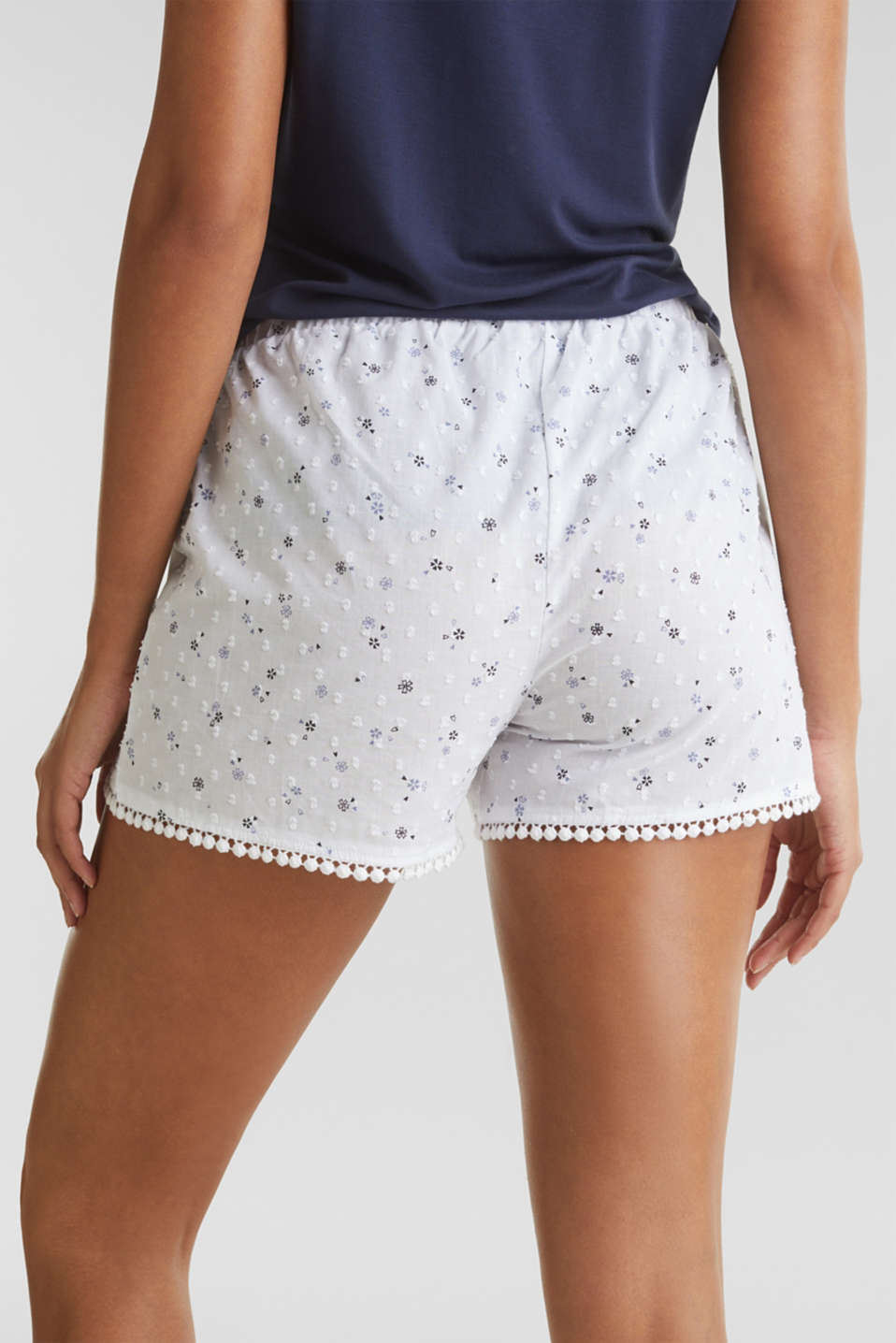 Woven shorts with lace, 100% cotton, WHITE, detail image number 5