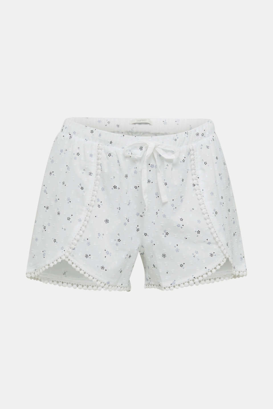 Woven shorts with lace, 100% cotton, WHITE, detail image number 7