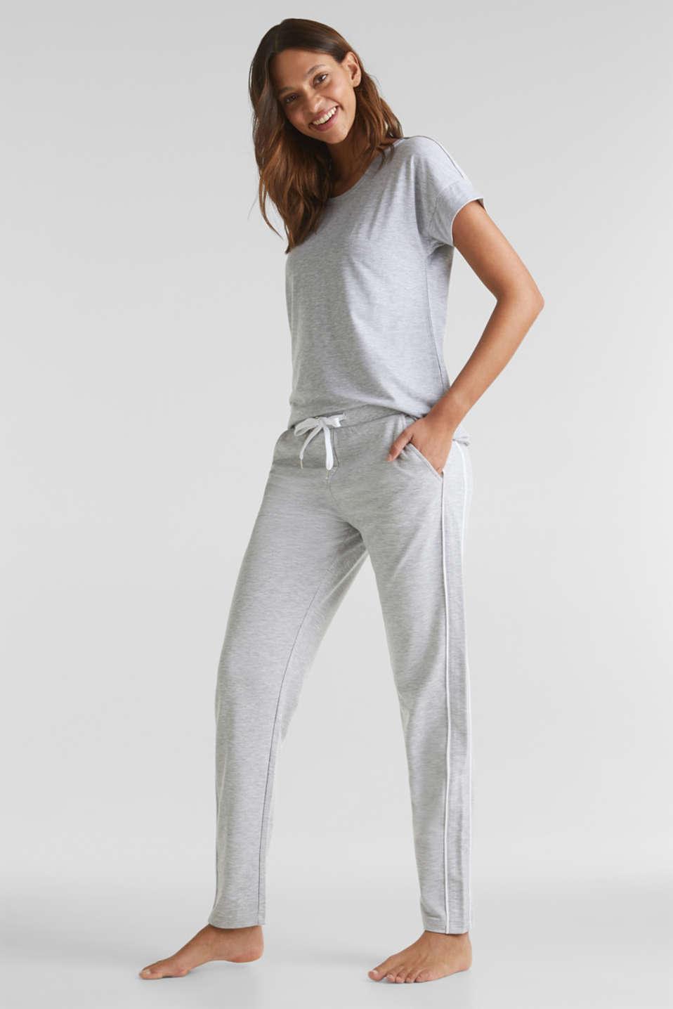 Melange stretch jersey trousers, MEDIUM GREY, detail image number 1