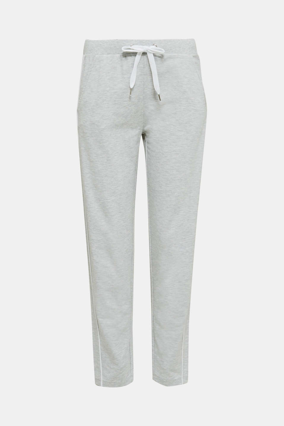 Melange stretch jersey trousers, MEDIUM GREY, detail image number 7