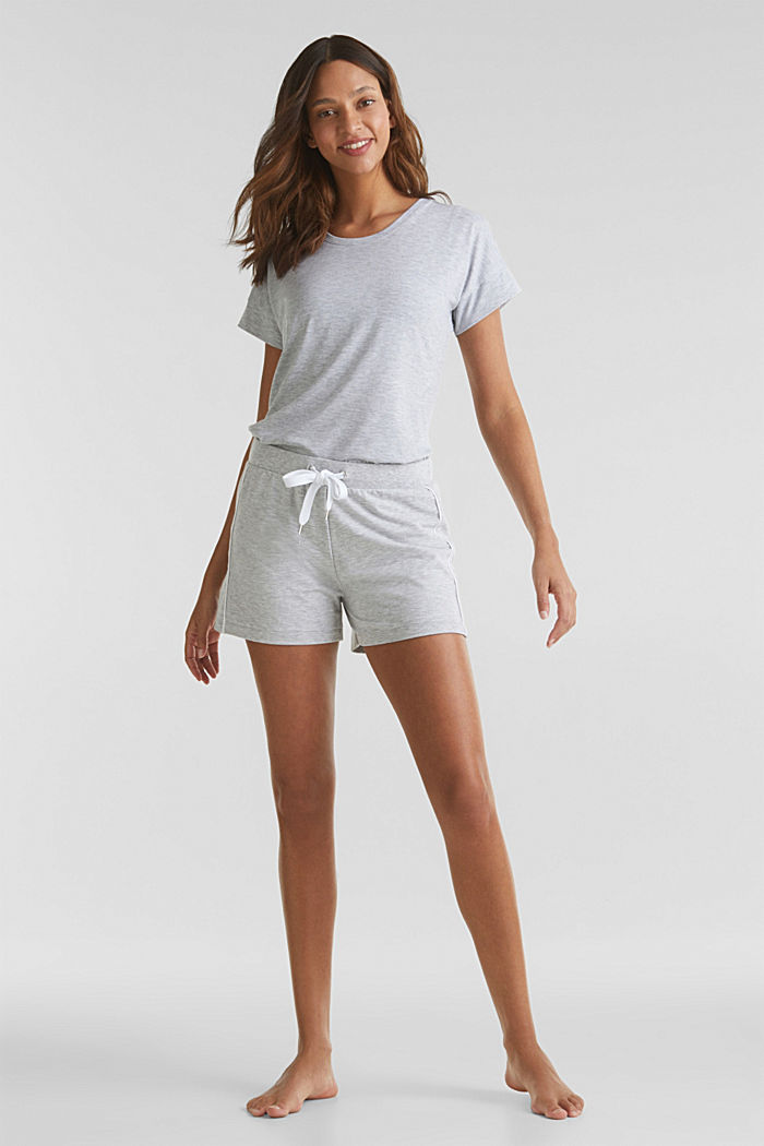 Shorts in jersey melangiato e elasticizzato, MEDIUM GREY, detail image number 1
