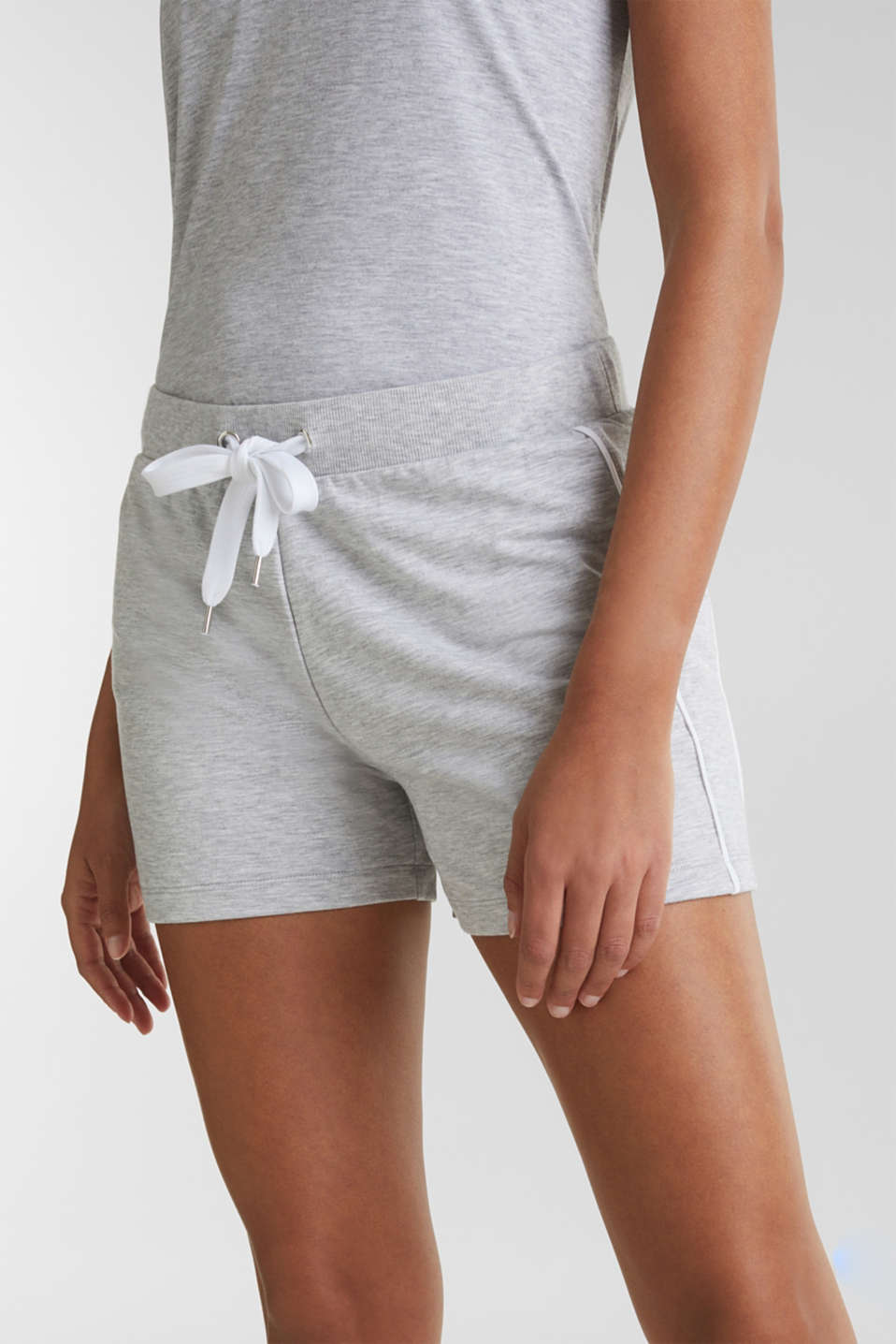 Melange stretch jersey shorts, MEDIUM GREY, detail image number 2