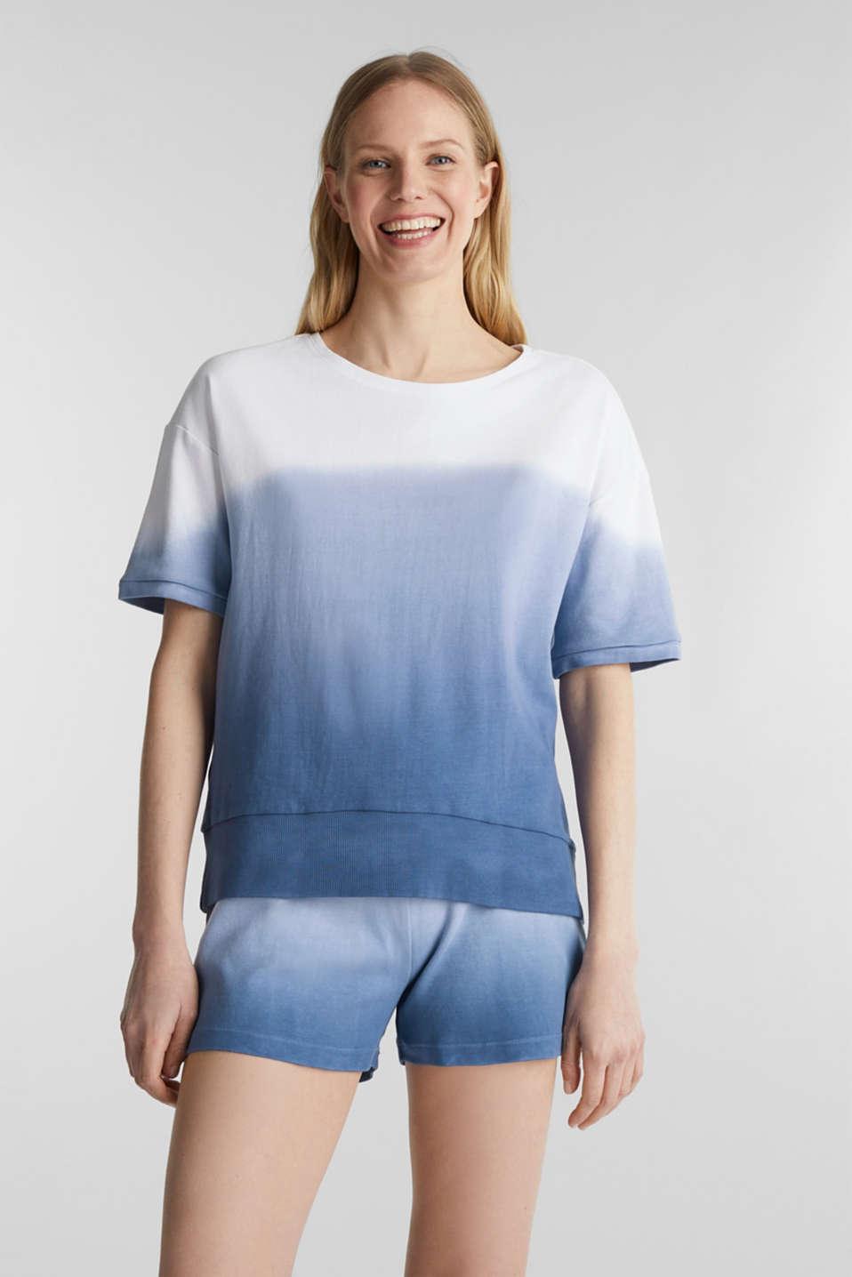 Dip-dye top, 100% cotton, BLUE LAVENDER, detail image number 1