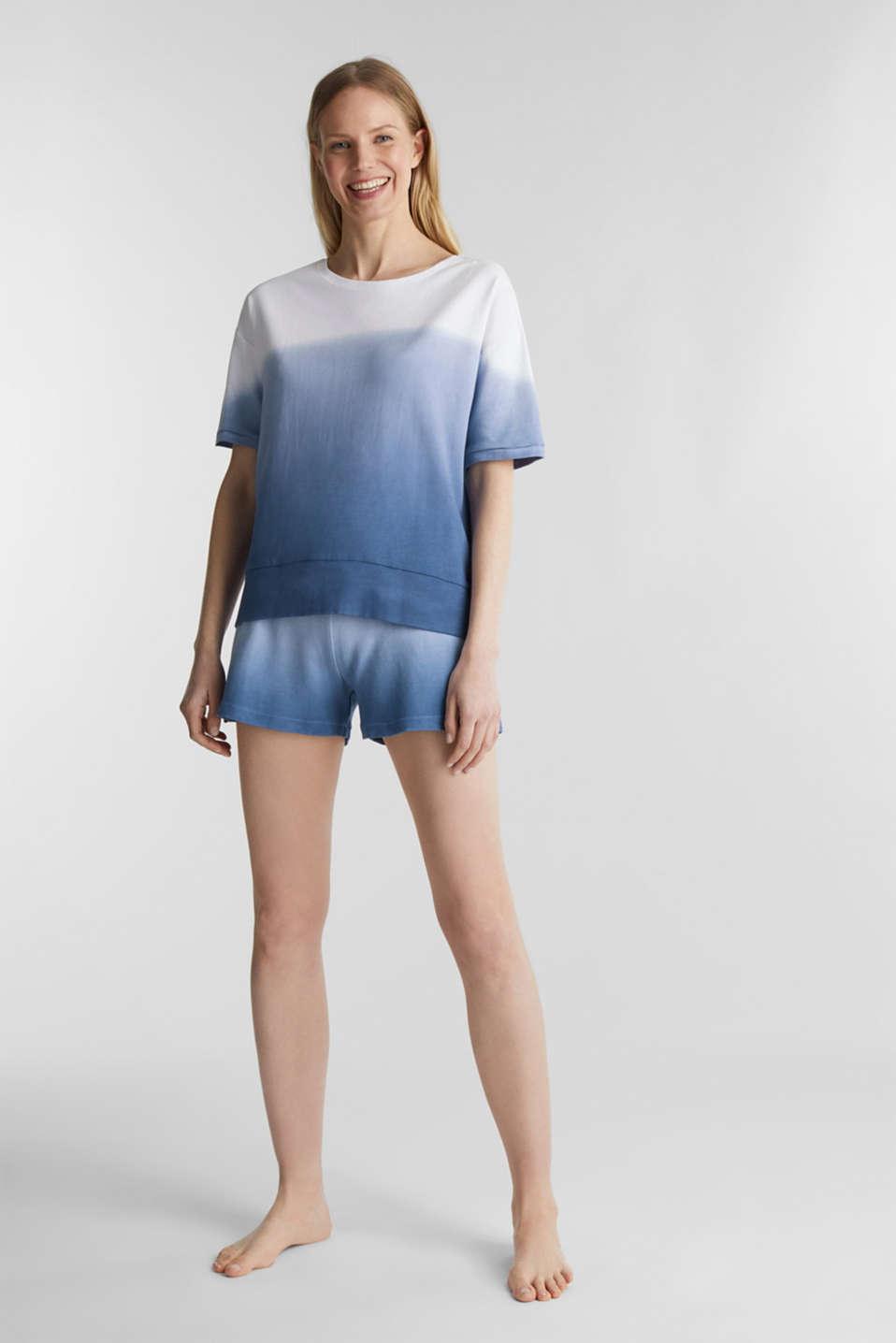Dip-dye top, 100% cotton, BLUE LAVENDER, detail image number 0