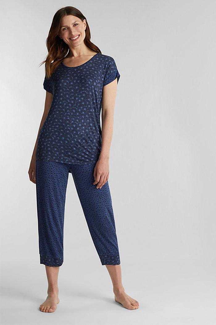 Jersey-Stretch-Pyjama mit Print, BLUE LAVENDER, detail image number 0