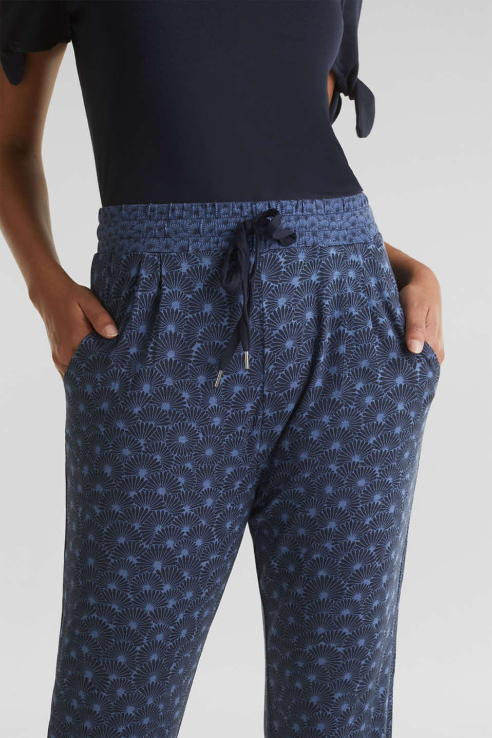 Stretch jersey trousers with print, BLUE LAVENDER, detail image number 2