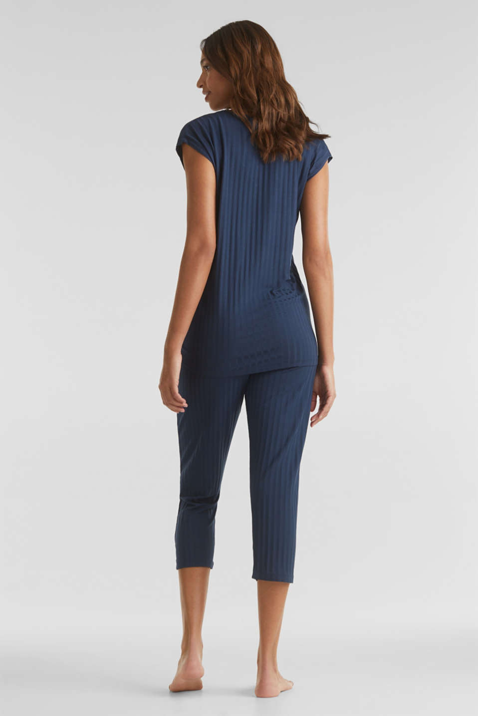 Jersey pyjamas with a ribbed texture, NAVY 2, detail image number 2