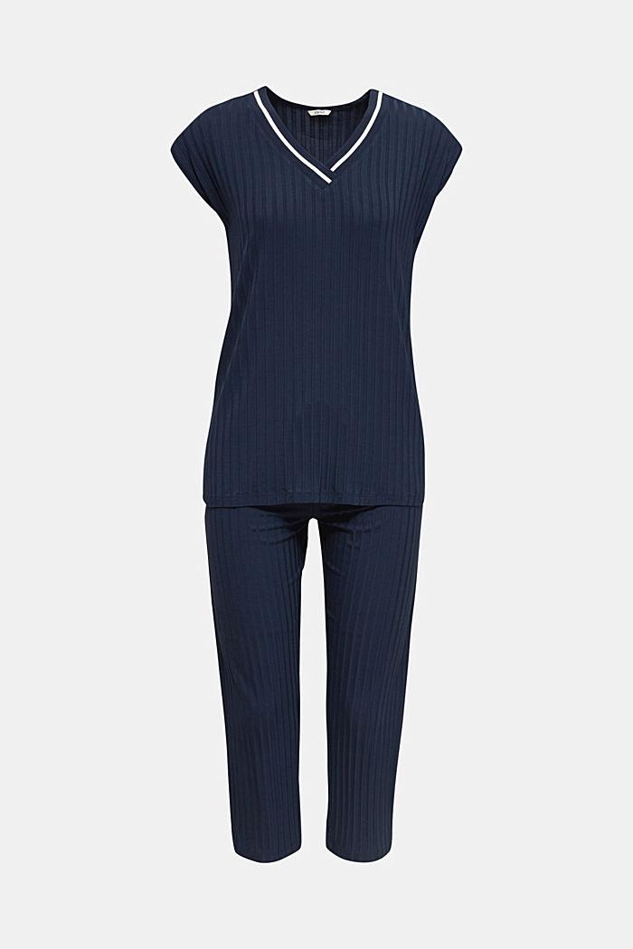 Jersey pyjama met ribstructuur, NAVY, detail image number 7
