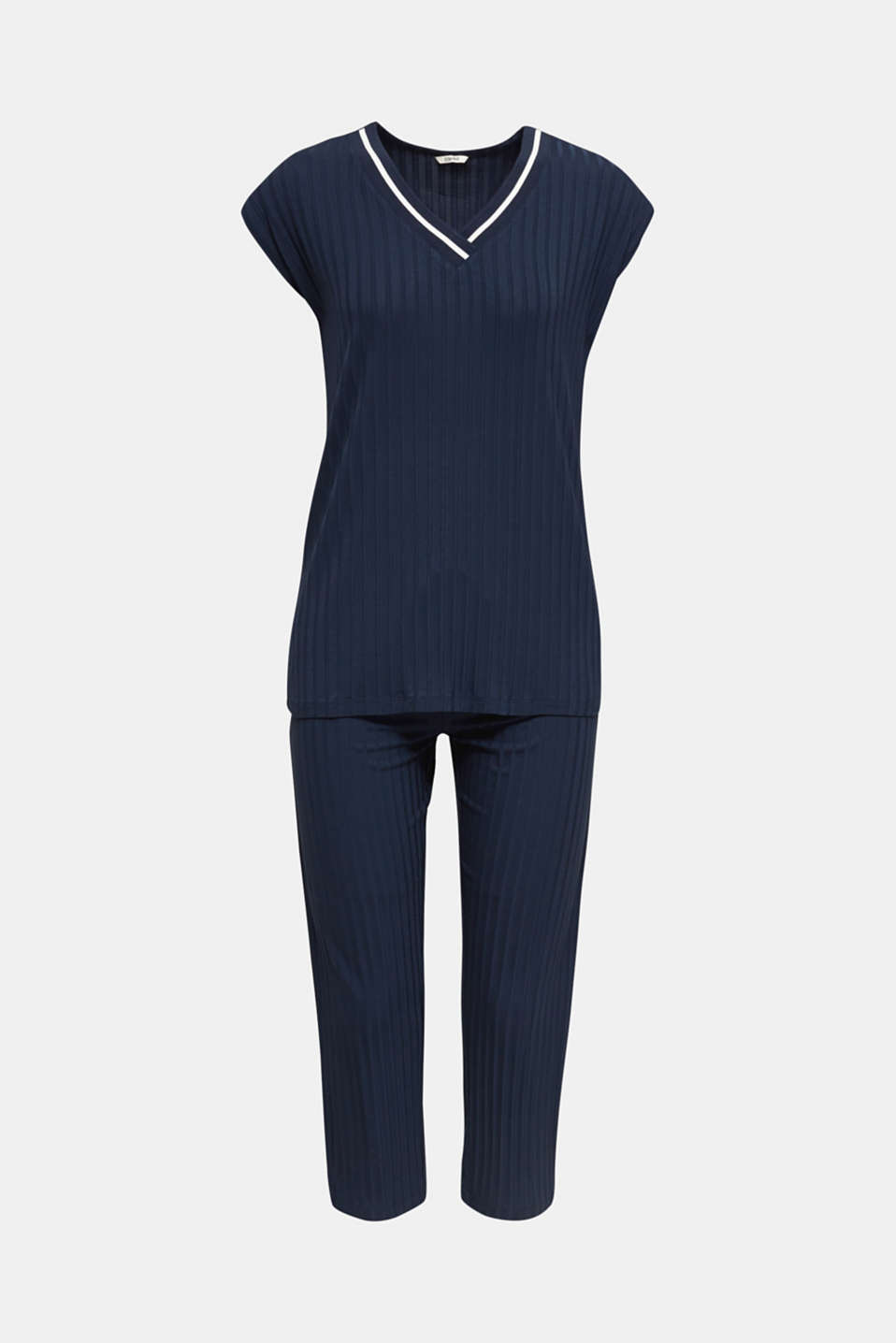 Jersey pyjamas with a ribbed texture, NAVY 2, detail image number 7