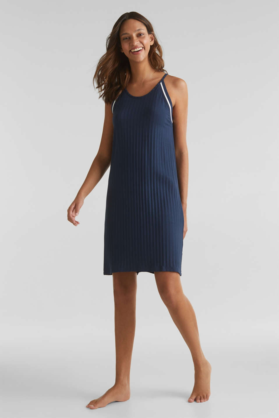 Jersey nightshirt with a ribbed texture, NAVY 2, detail image number 0