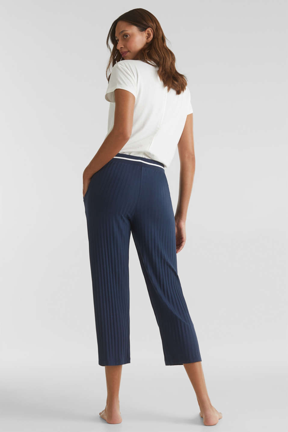 Stretch jersey trousers with a ribbed texture, NAVY 2, detail image number 2