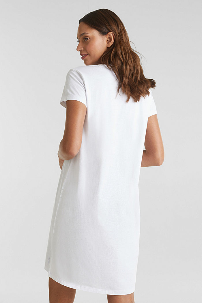 Jersey nightshirt, 100% cotton, WHITE, detail image number 1