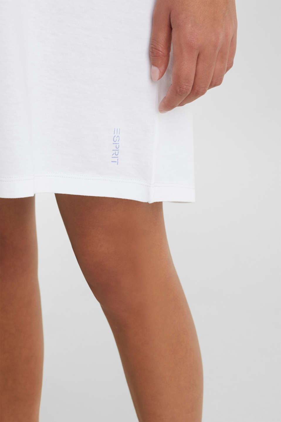 Jersey nightshirt, 100% cotton, WHITE, detail image number 3