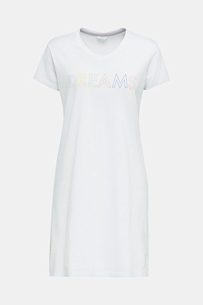 Jersey nightshirt, 100% cotton, WHITE, detail image number 4