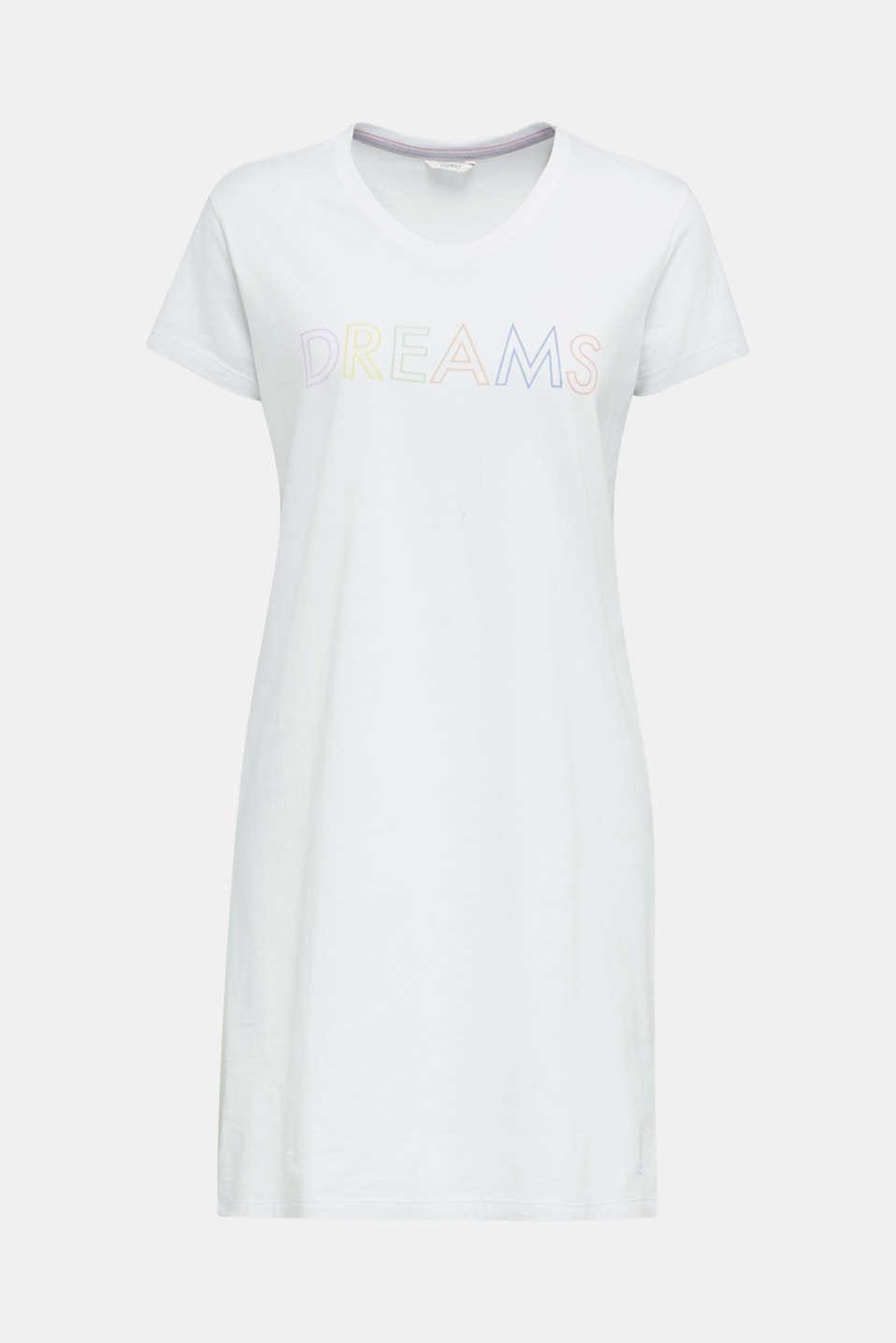 Jersey nightshirt, 100% cotton, WHITE, detail image number 4