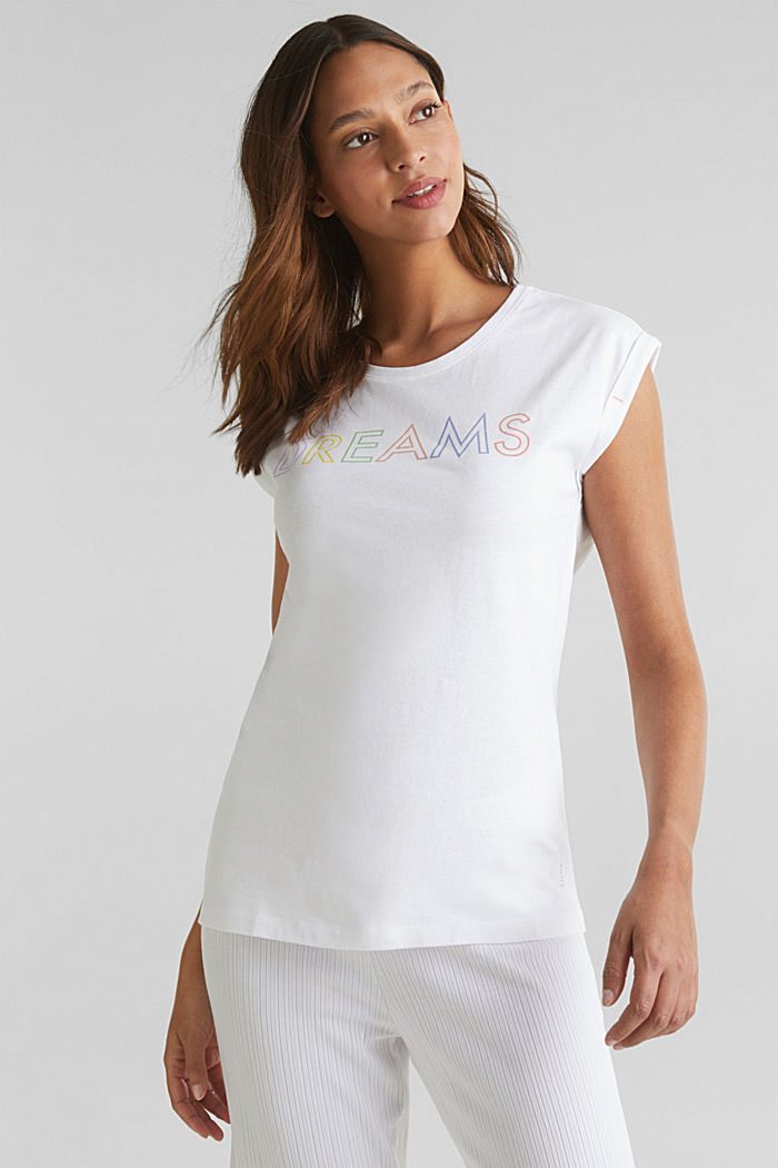 T-shirt with a print, 100% cotton, WHITE, detail image number 0