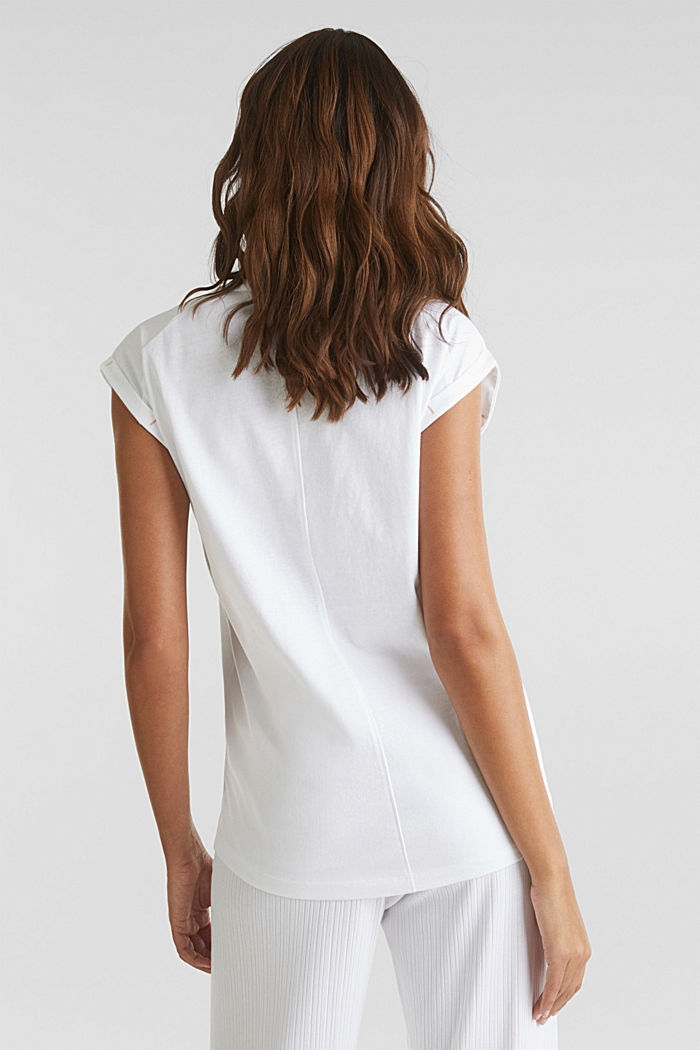Shirt met print, 100% katoen, WHITE, detail image number 1