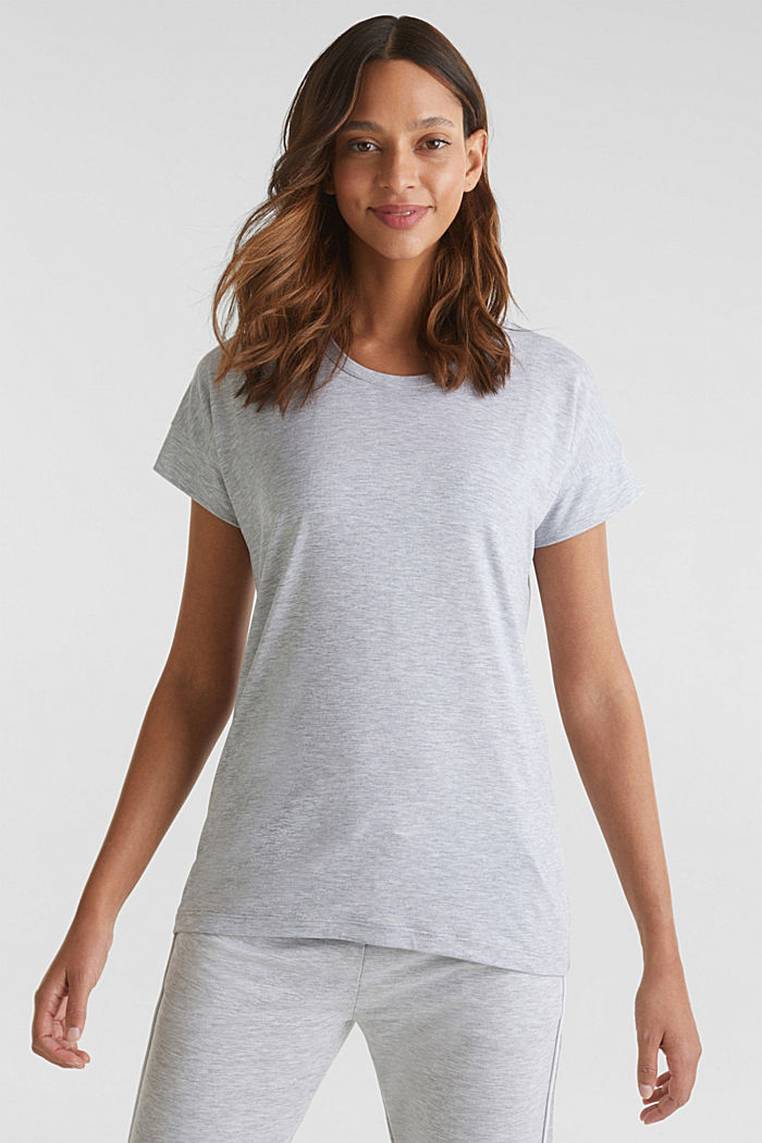 Melange stretch jersey top, MEDIUM GREY, detail image number 1