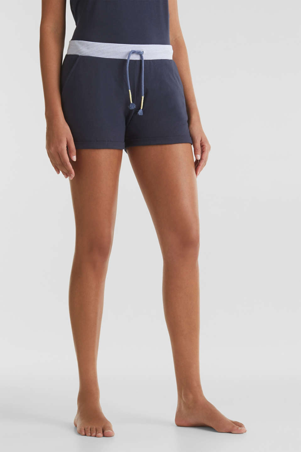Jersey shorts with a ribbed waistband, 100% cotton, NAVY 2, detail image number 0