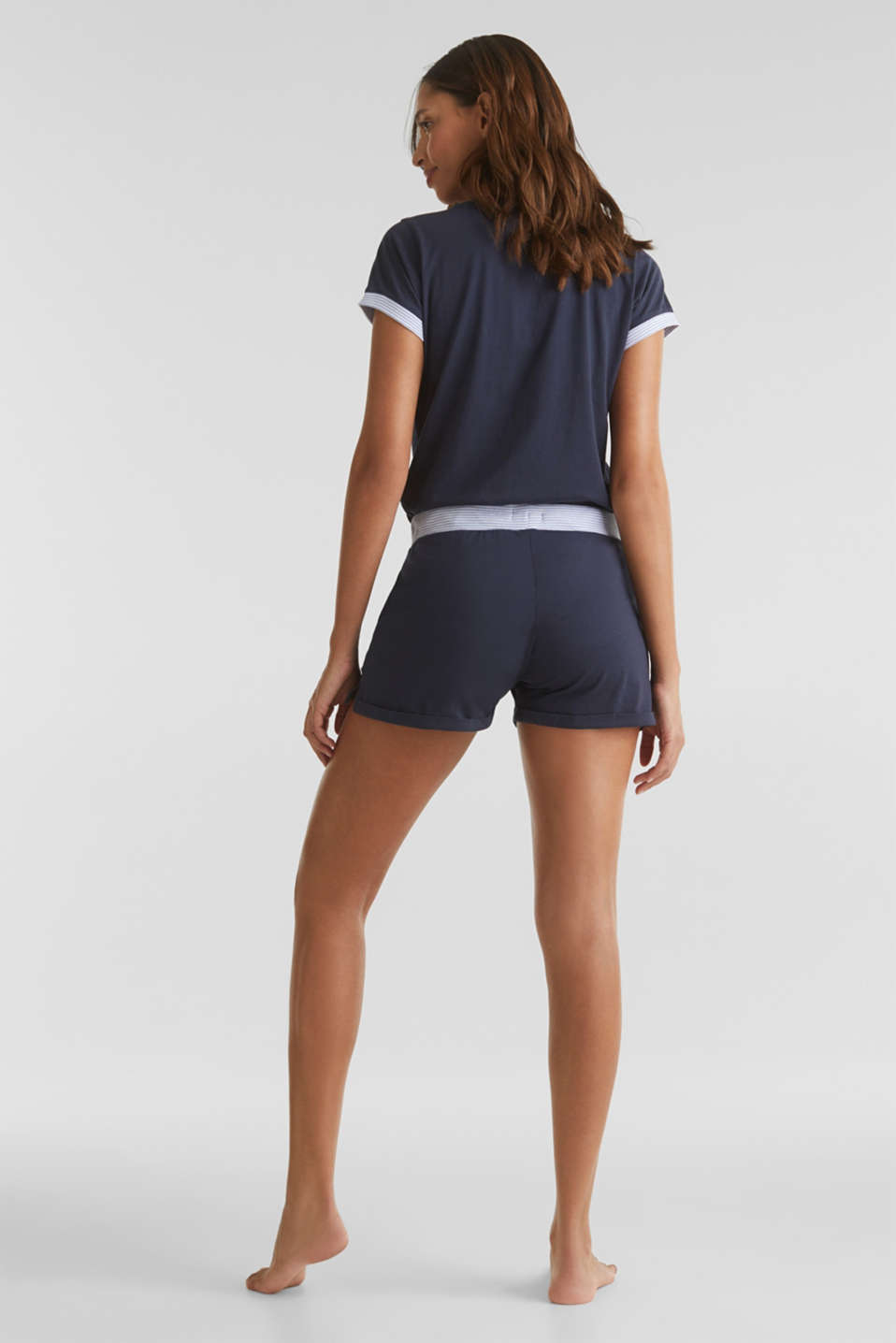 Jersey shorts with a ribbed waistband, 100% cotton, NAVY 2, detail image number 3
