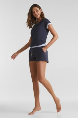 Jersey shorts with a ribbed waistband, 100% cotton, NAVY 2, detail