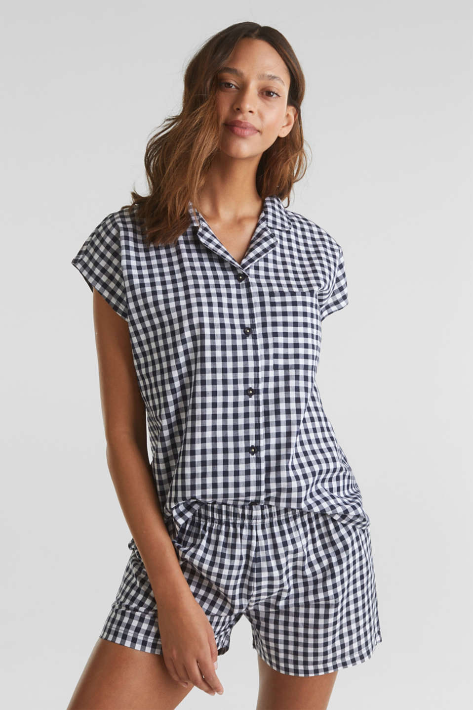 Woven pyjamas with checks, 100% cotton, NAVY 2, detail image number 0