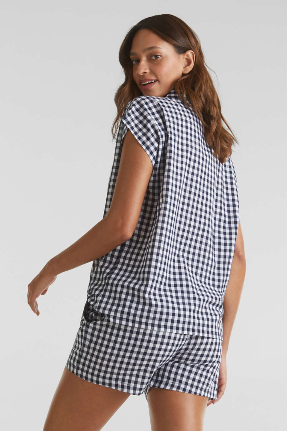 Woven pyjamas with checks, 100% cotton, NAVY 2, detail image number 1