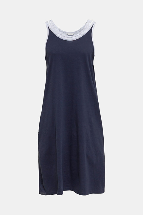 Jersey nightshirt with layering, 100% cotton