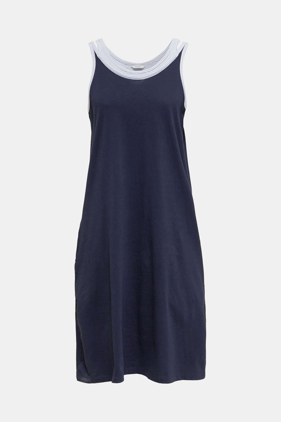 Jersey nightshirt with layering, 100% cotton, NAVY 2, detail image number 6