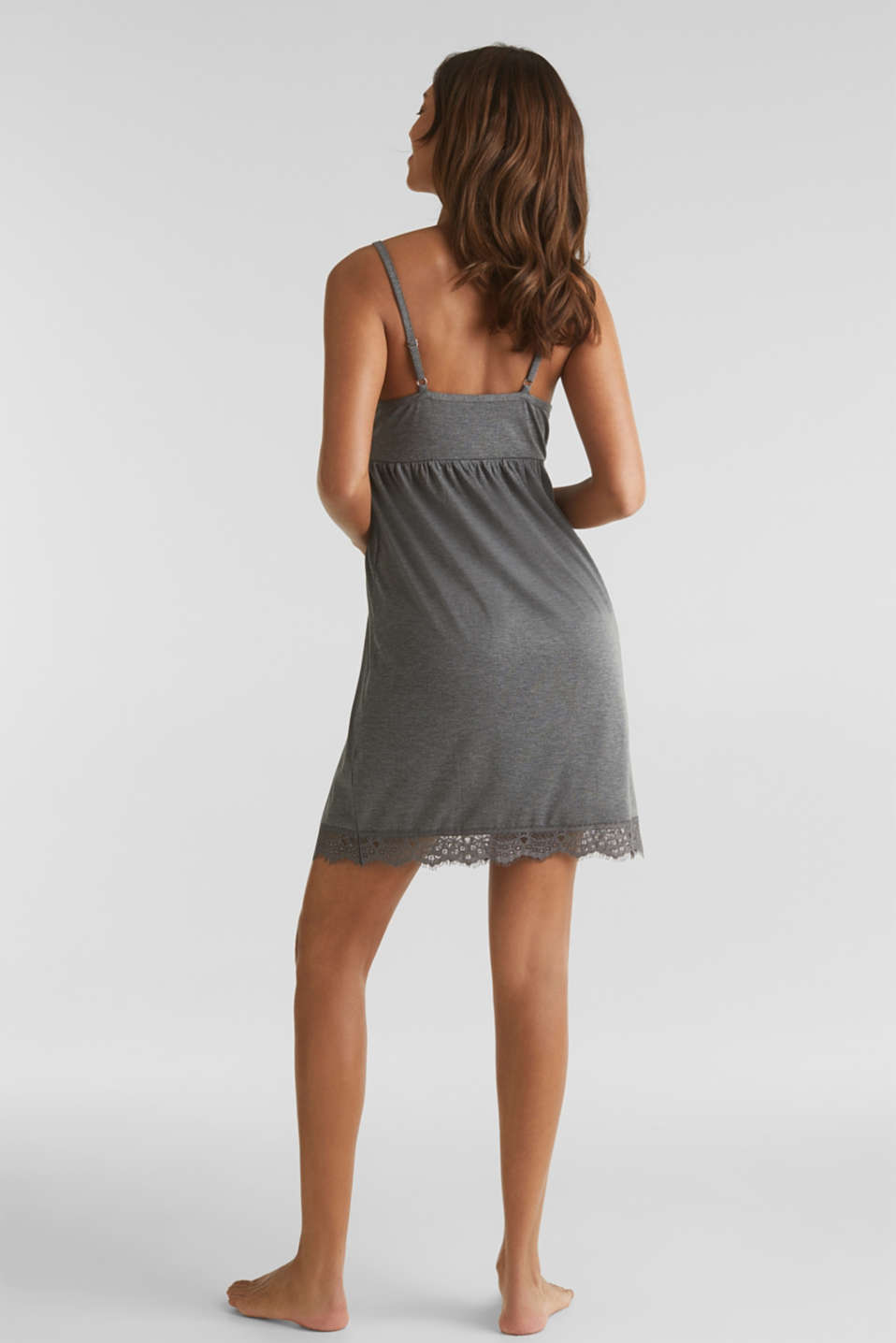 Lace-trimmed stretch jersey chemise, ANTHRACITE 2, detail image number 2