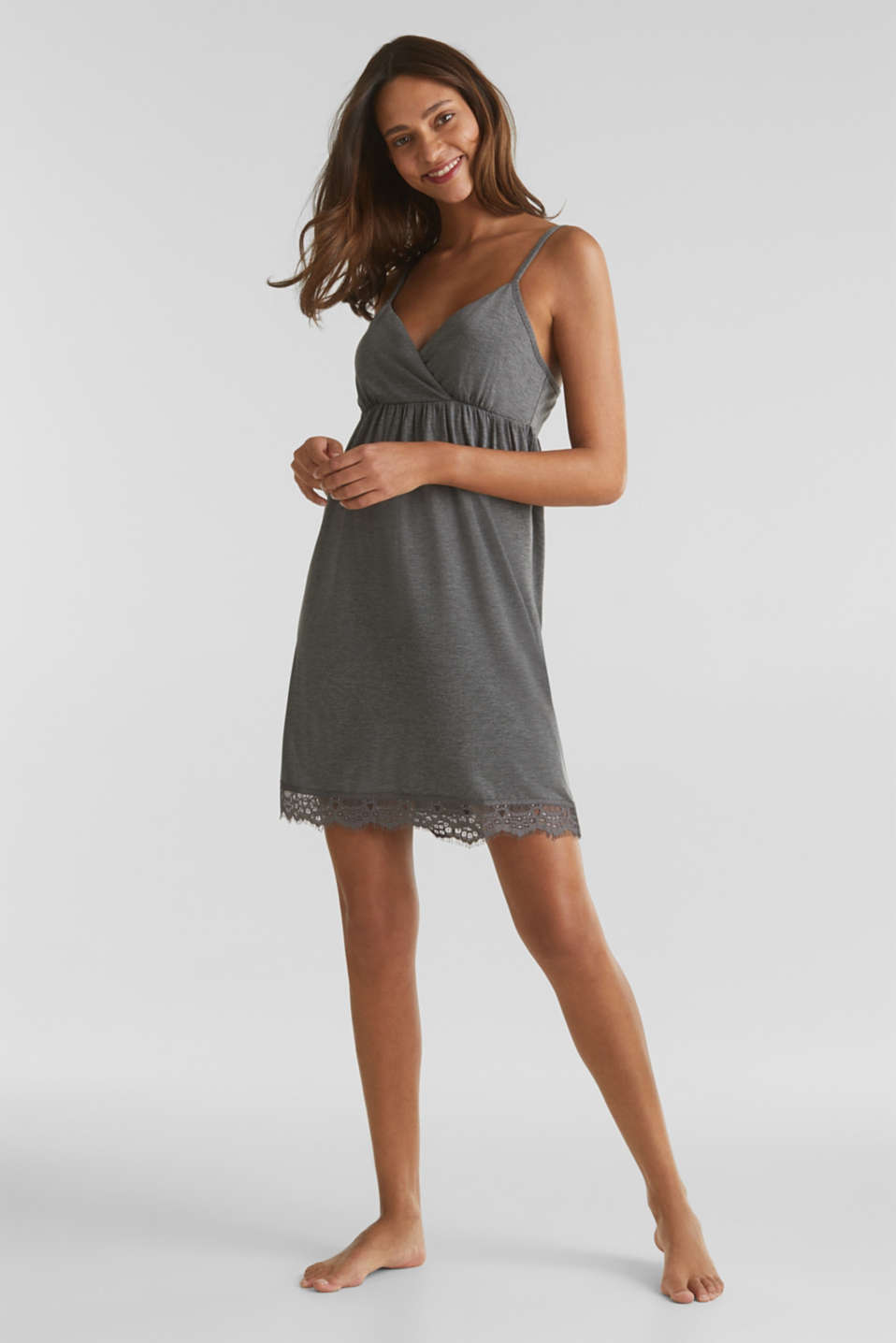 Lace-trimmed stretch jersey chemise, ANTHRACITE 2, detail image number 0