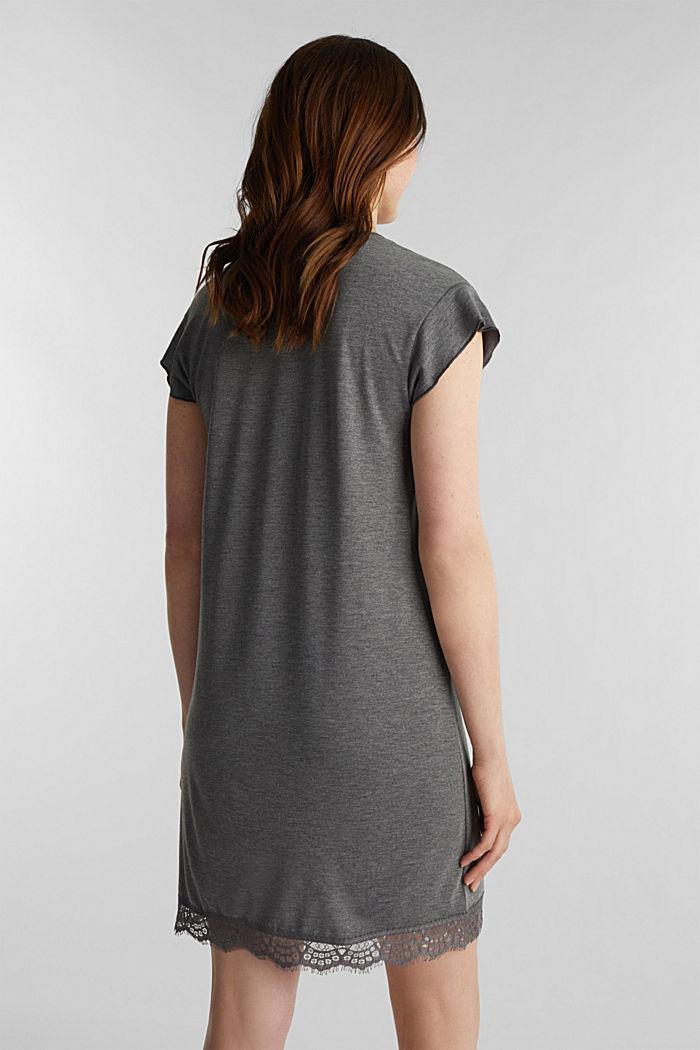 Chemise de nuit en jersey stretch et dentelle, ANTHRACITE, detail image number 2