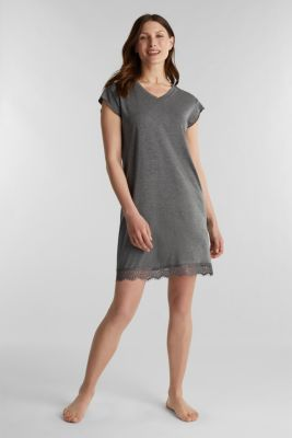 Stretch jersey nightshirt with lace, ANTHRACITE 2, detail